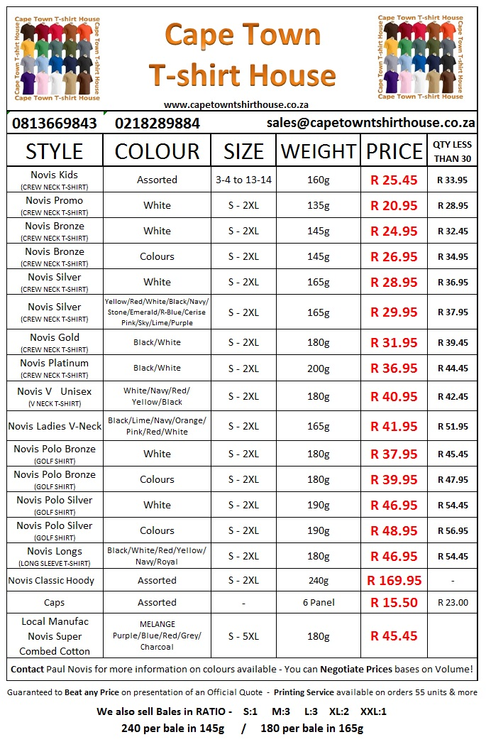 Price List Sept 2015 Cape Town T Shirt House